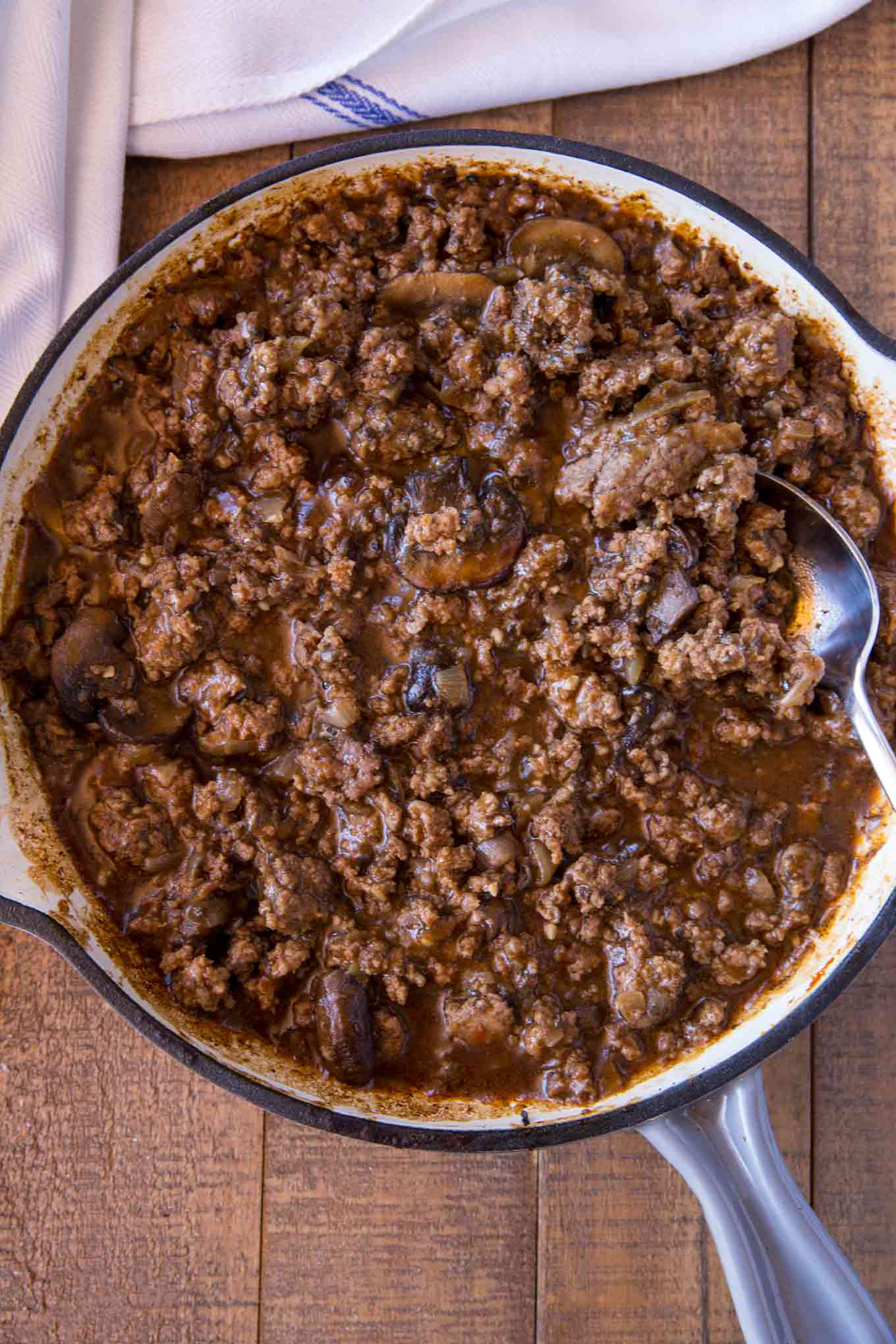 Pot Roast Flavored Sloppy Joes in Skillet