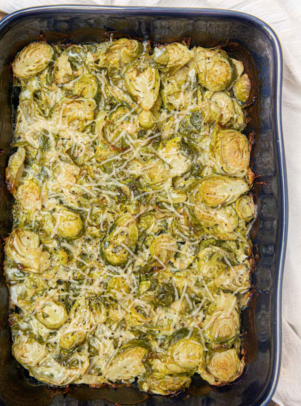 Brussels Sprouts Gratin in a dish