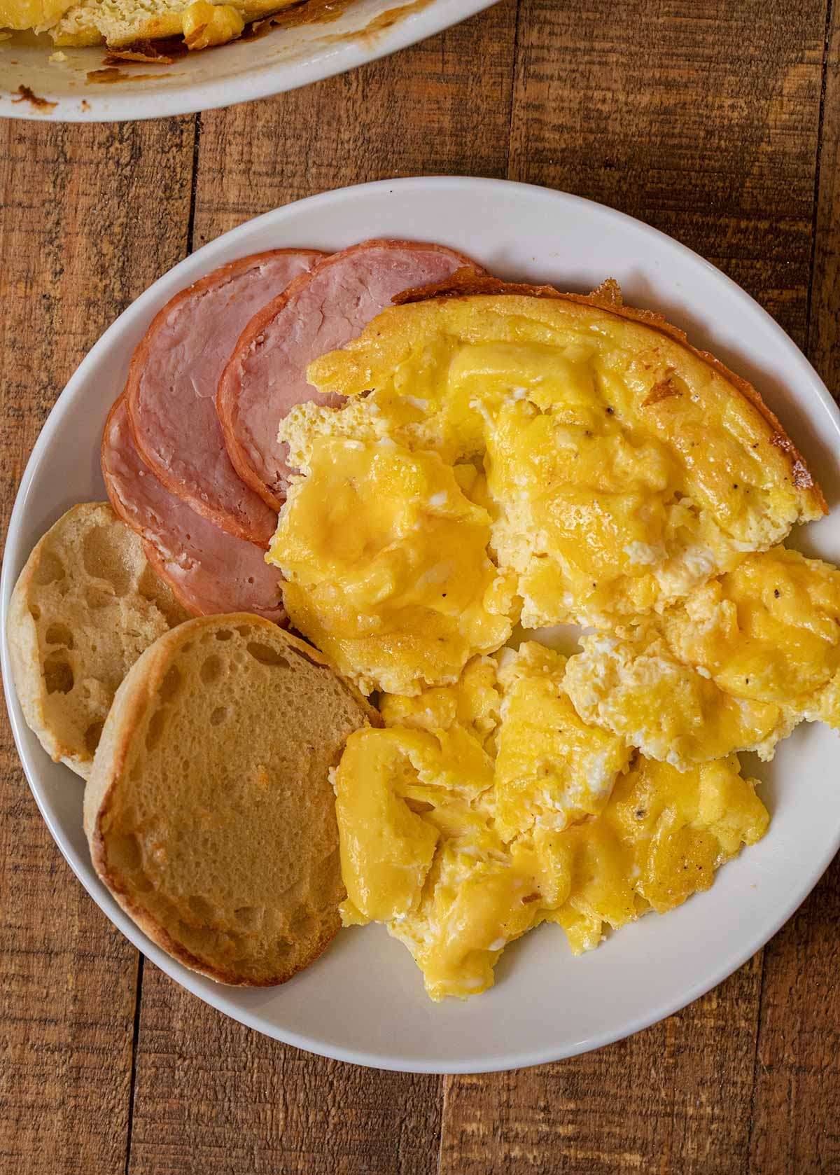 Oven Scrambled Eggs serving on plate