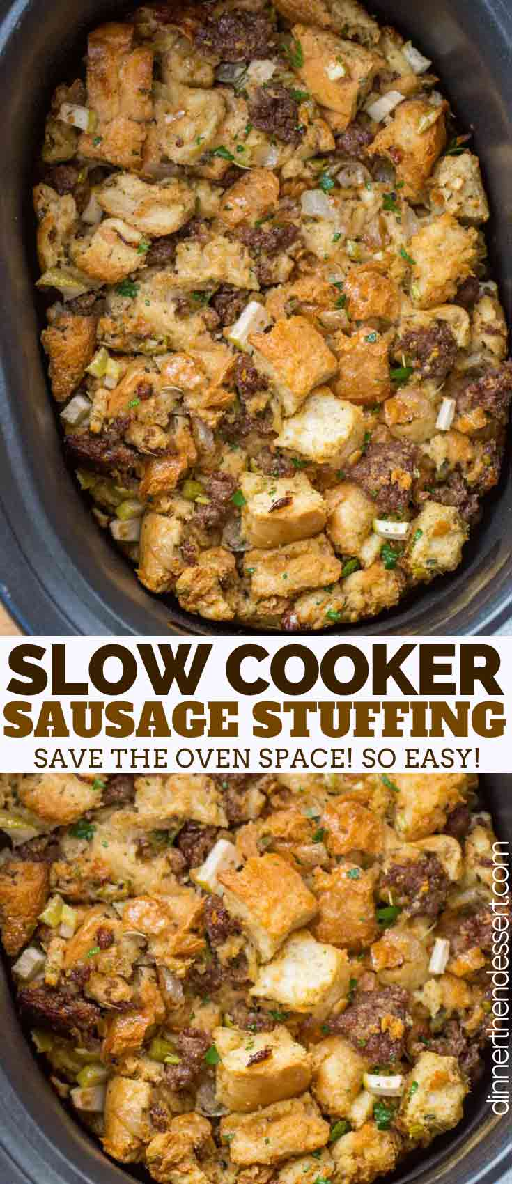 Slow Cooker Stuffing made with celery, onions, bread, and seasonings is a savory side dish and an EASY way to free up valuable oven space this Thanksgiving!