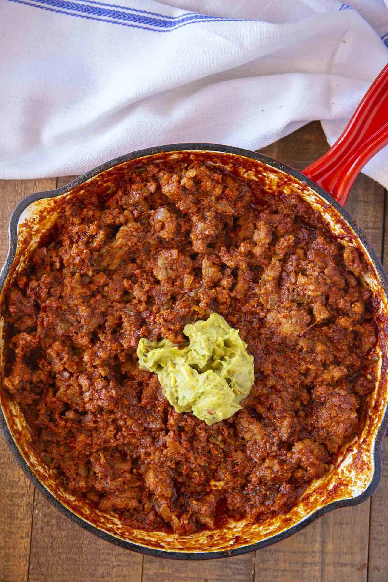 Chorizo and Guacamole Sloppy Joes