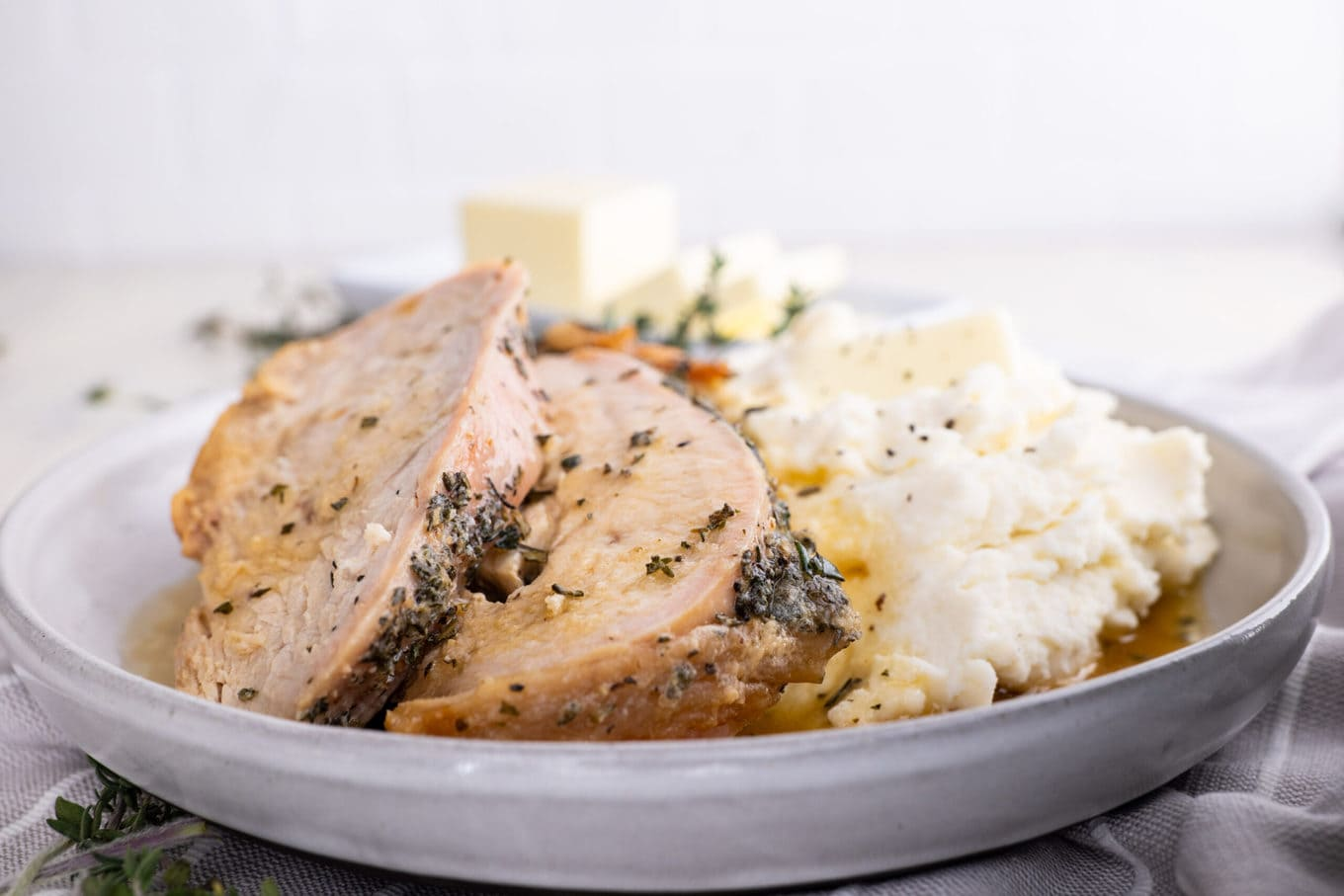 Roasted Turkey Breast on plate with mashed potatoes