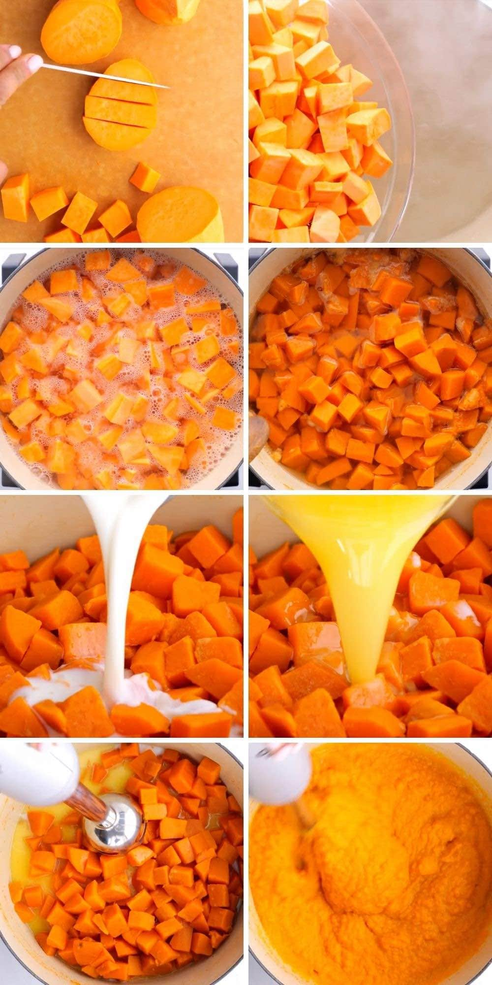 Mashed Sweet Potatoes Collage of prep steps