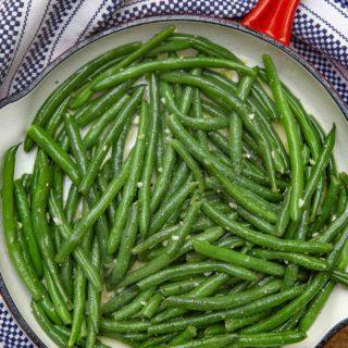 Sauteéd Green Beans in red pan