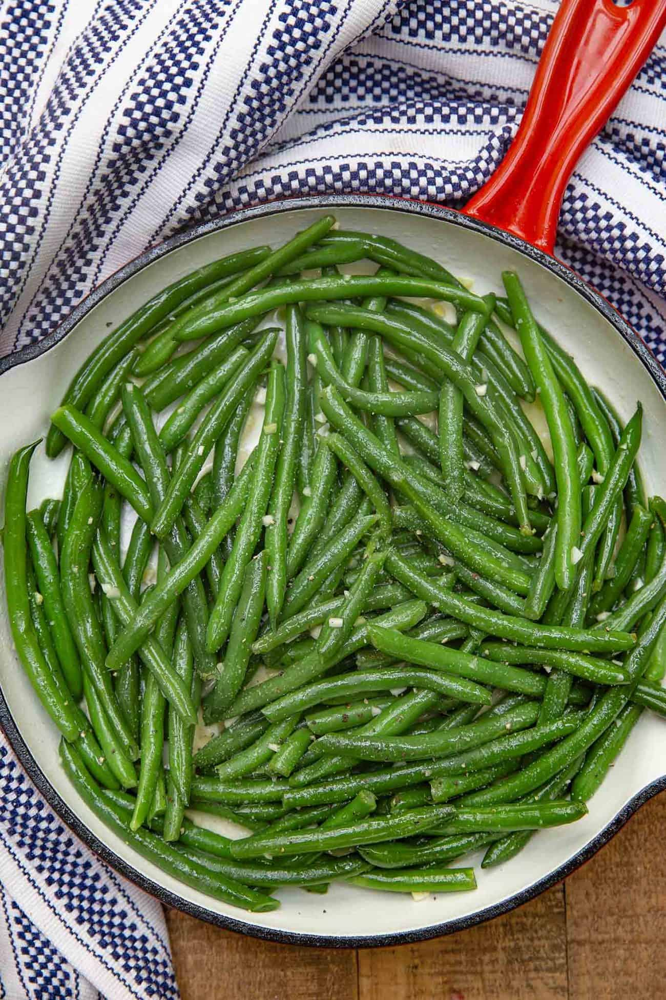 Sauteéd Green Beans in red pan