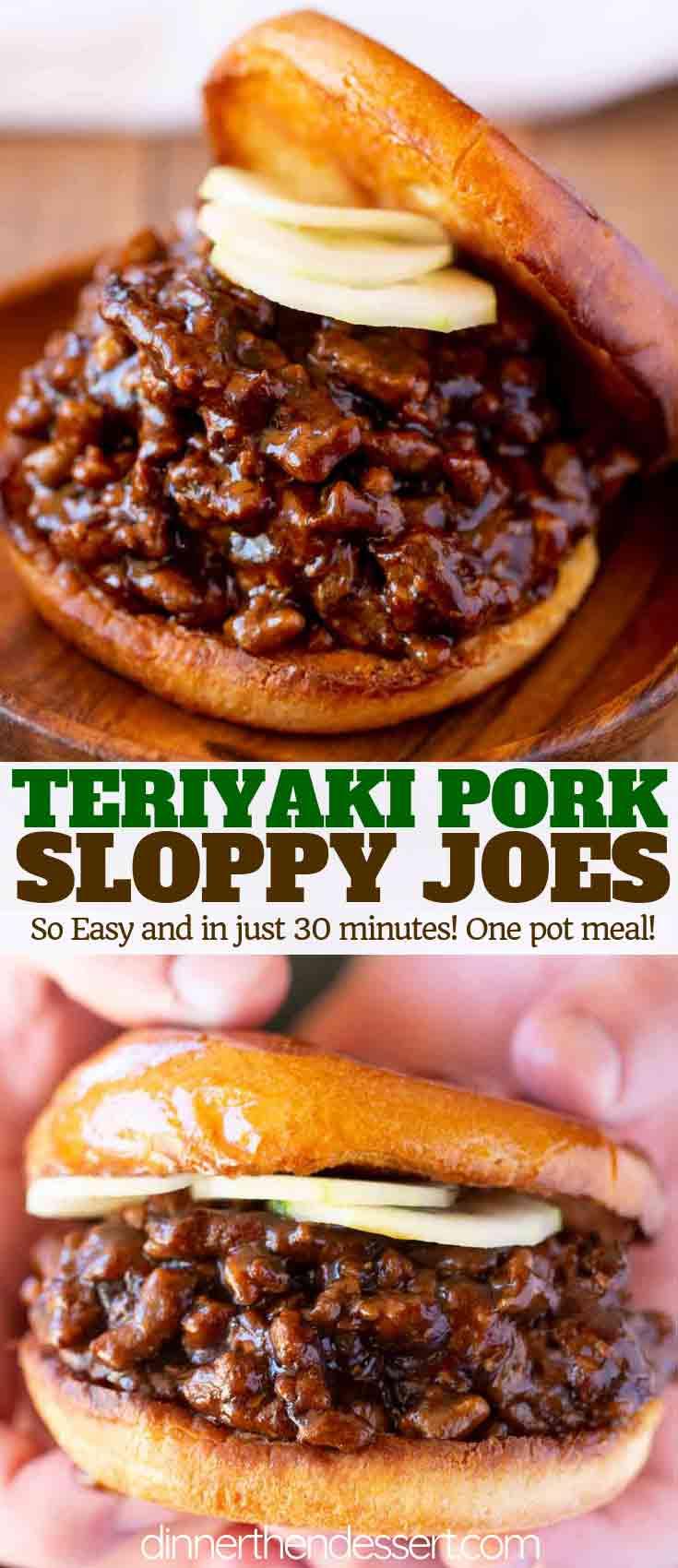 Teriyaki Pork Sloppy Joes - Dinner, then Dessert