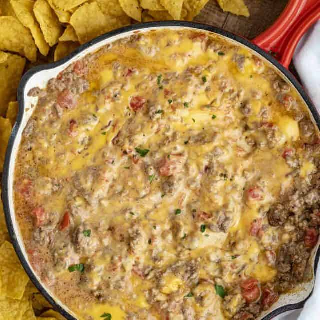 Cheesy Beef Rotel Dip