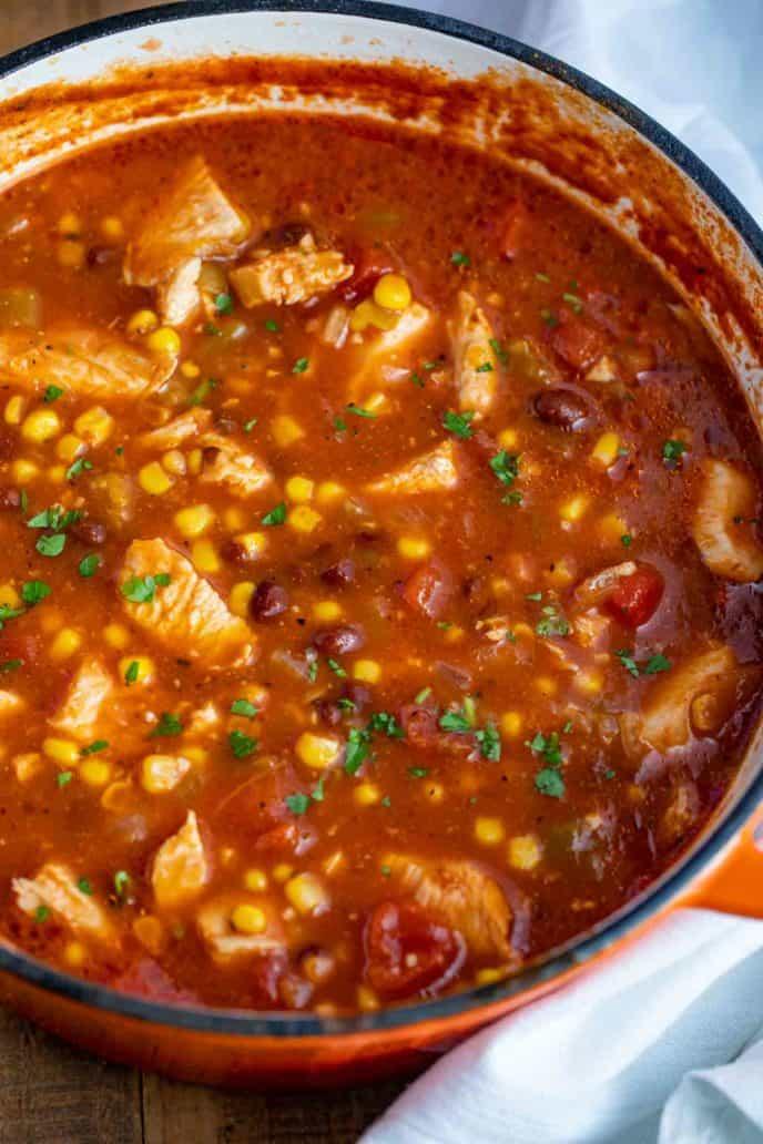 pot of chicken tortilla soup