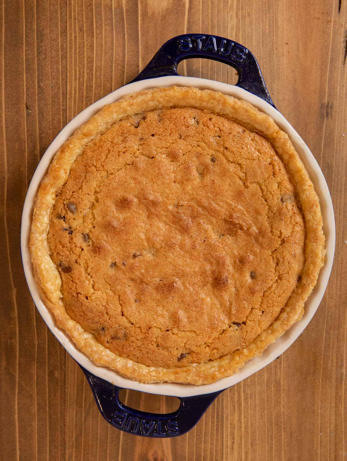 Chocolate Chip Cookie Pie in pie plate