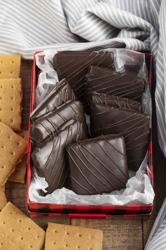 Chocolate Dipped Graham Crackers in tin