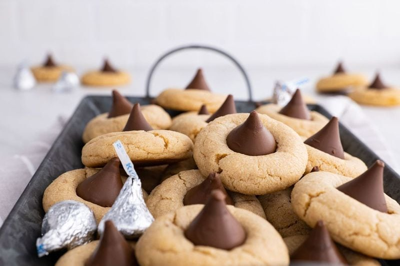 Peanut Butter Blossoms on serving tray