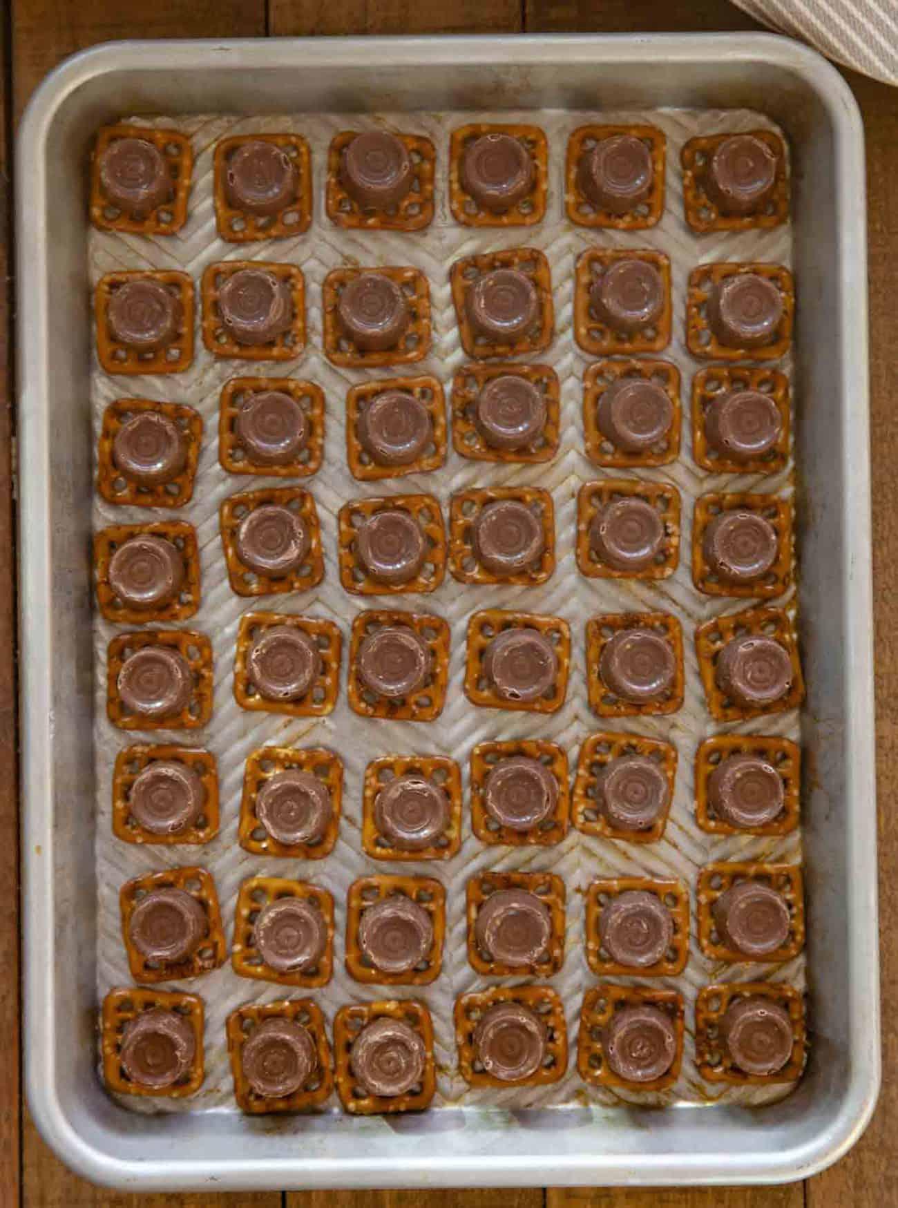 Rolo candies on pretzels