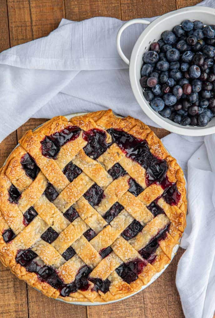 Whole Blueberry Pie with Lattice Crust