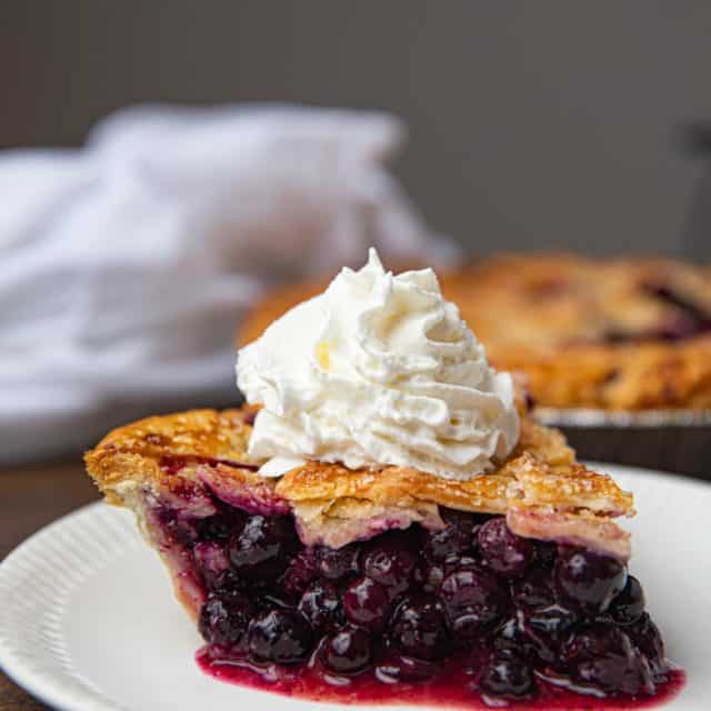 Blueberry Pie with Whipped Cream on White Plate