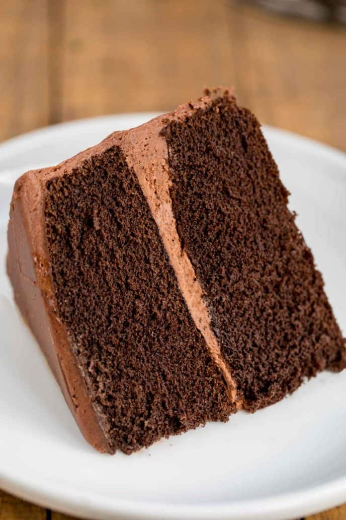 Slice of Chocolate Cake with Chocolate Frosting