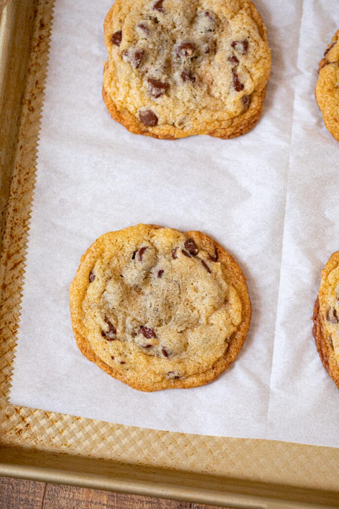 Chocolate Chip Cookies on baking sheet with parchment paper