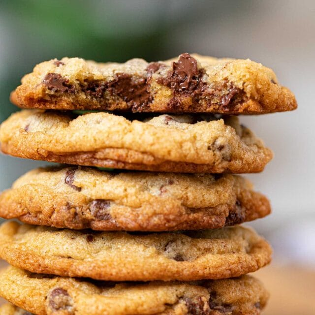 Chocolate Chip Cookies in stack