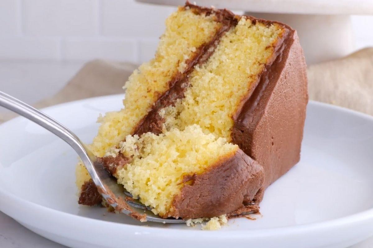 Yellow Cake bite on fork