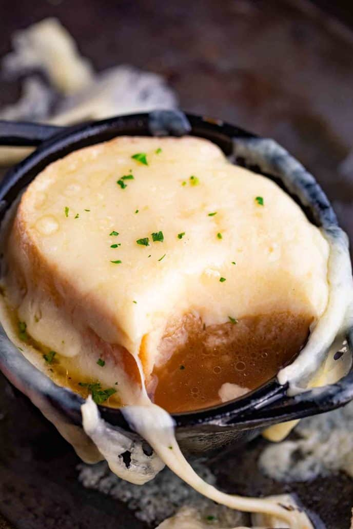 French Onion Soup with Cheese and Toast Topping