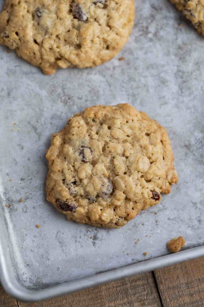 Classic Oatmeal Raisin Cookies on tray