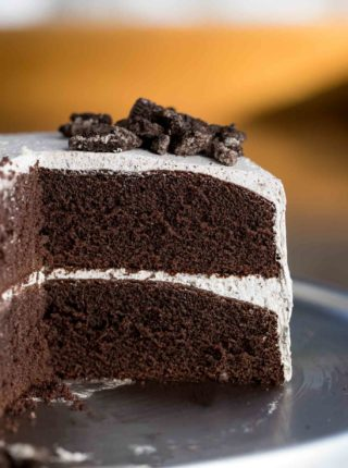 Slice of Chocolate Cake with Oreo Frosting
