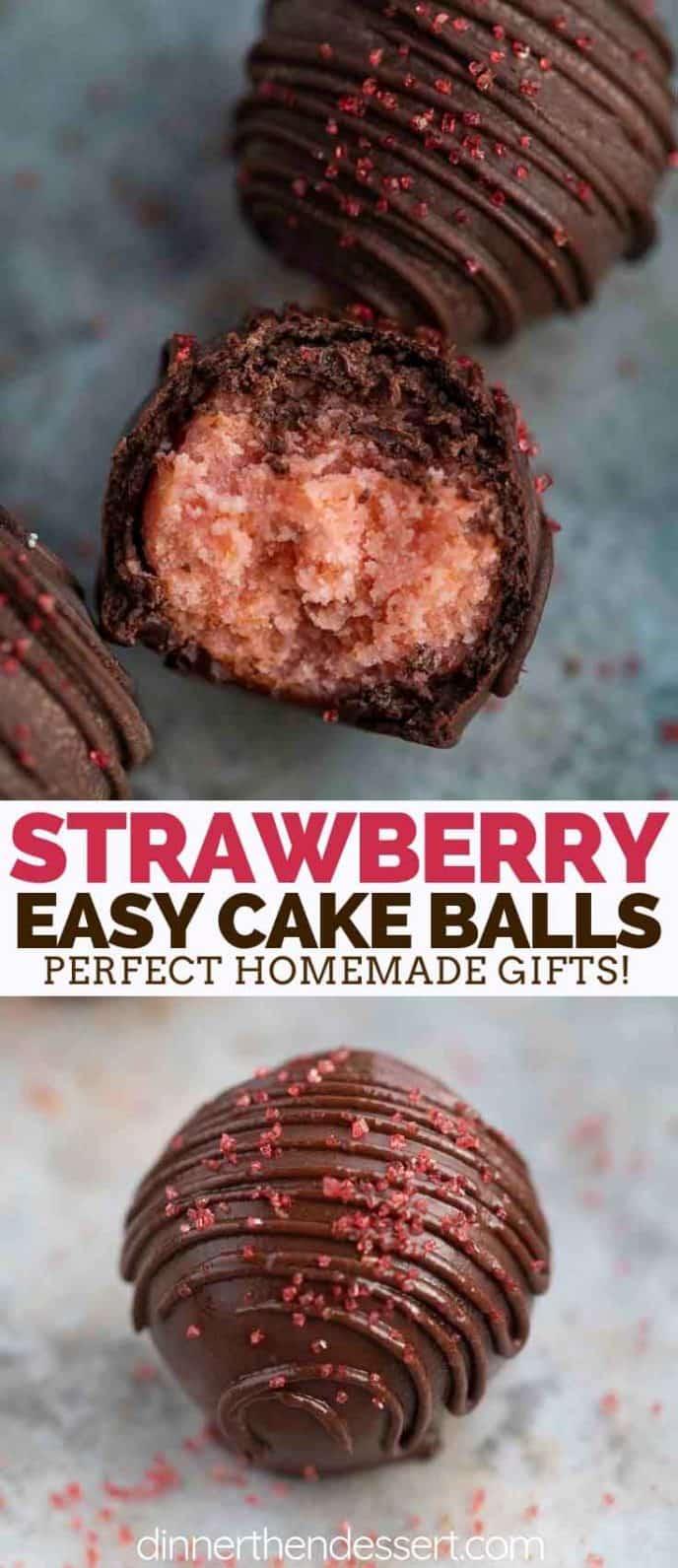 Chocolate Dipped Strawberry Cake Balls
