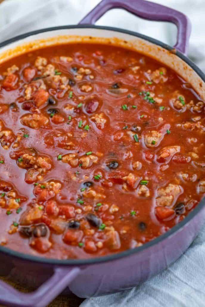 Easy Turkey Chili in Pot