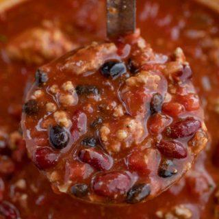 Turkey Chili in a ladle