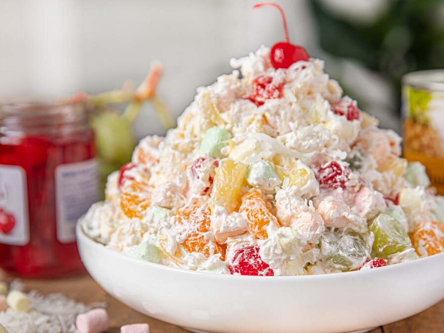 Easy Ambrosia Marshmallow Fruit Cocktail Salad