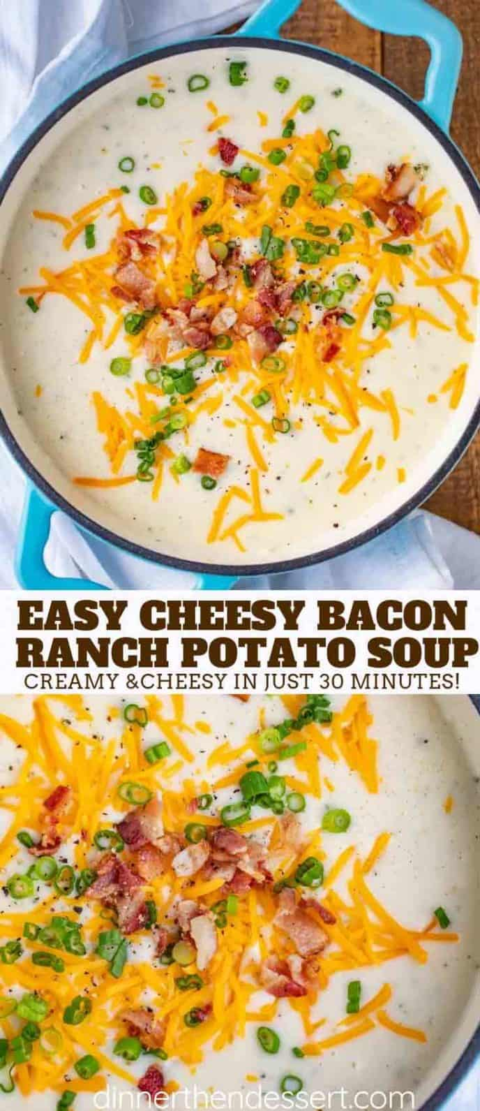 Cheesy Potato Soup with Bacon and Ranch