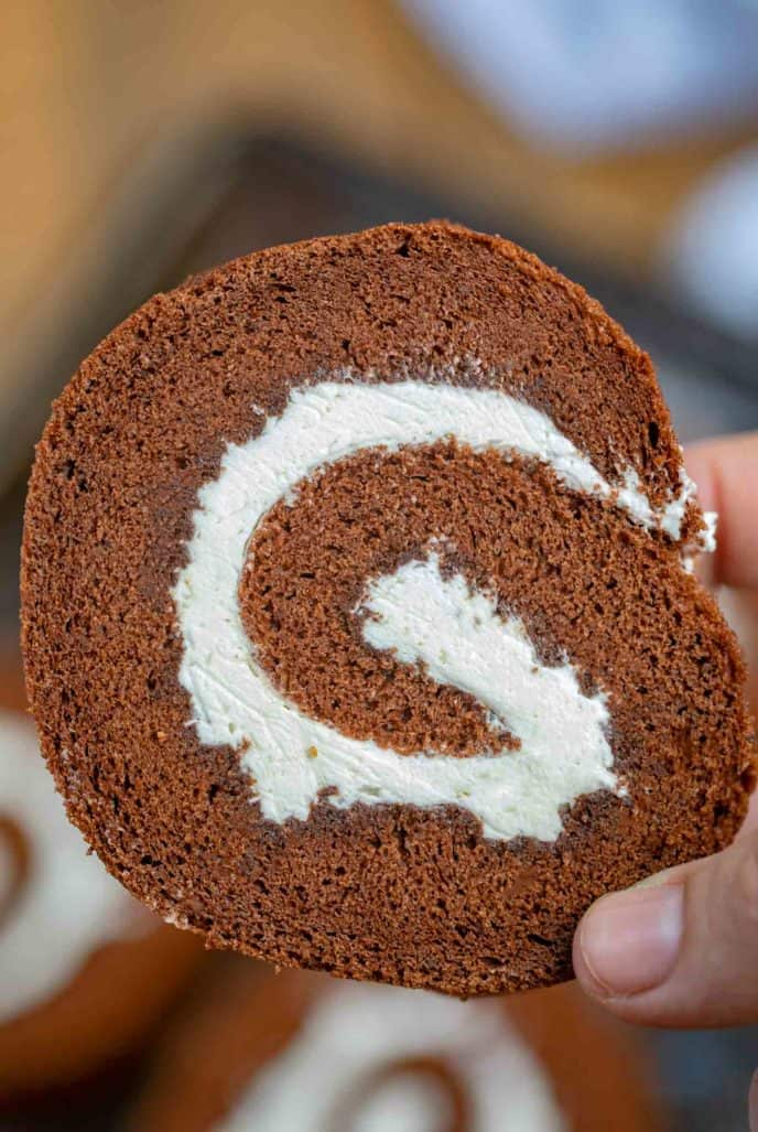 Chocolate Cake Swiss Roll with Whipped Cream Filling