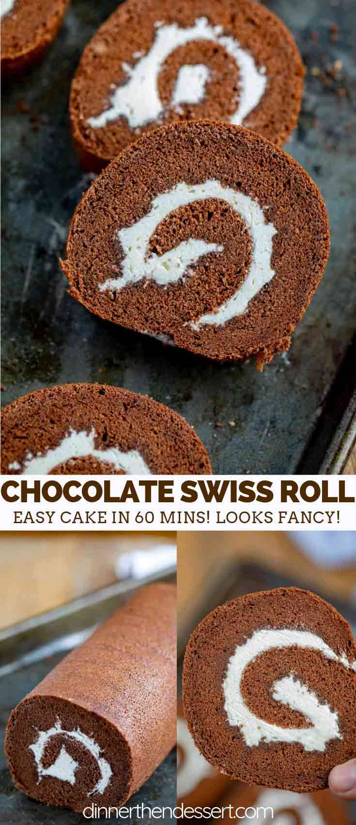 Swiss Roll with Chocolate Cake and Whipped Cream