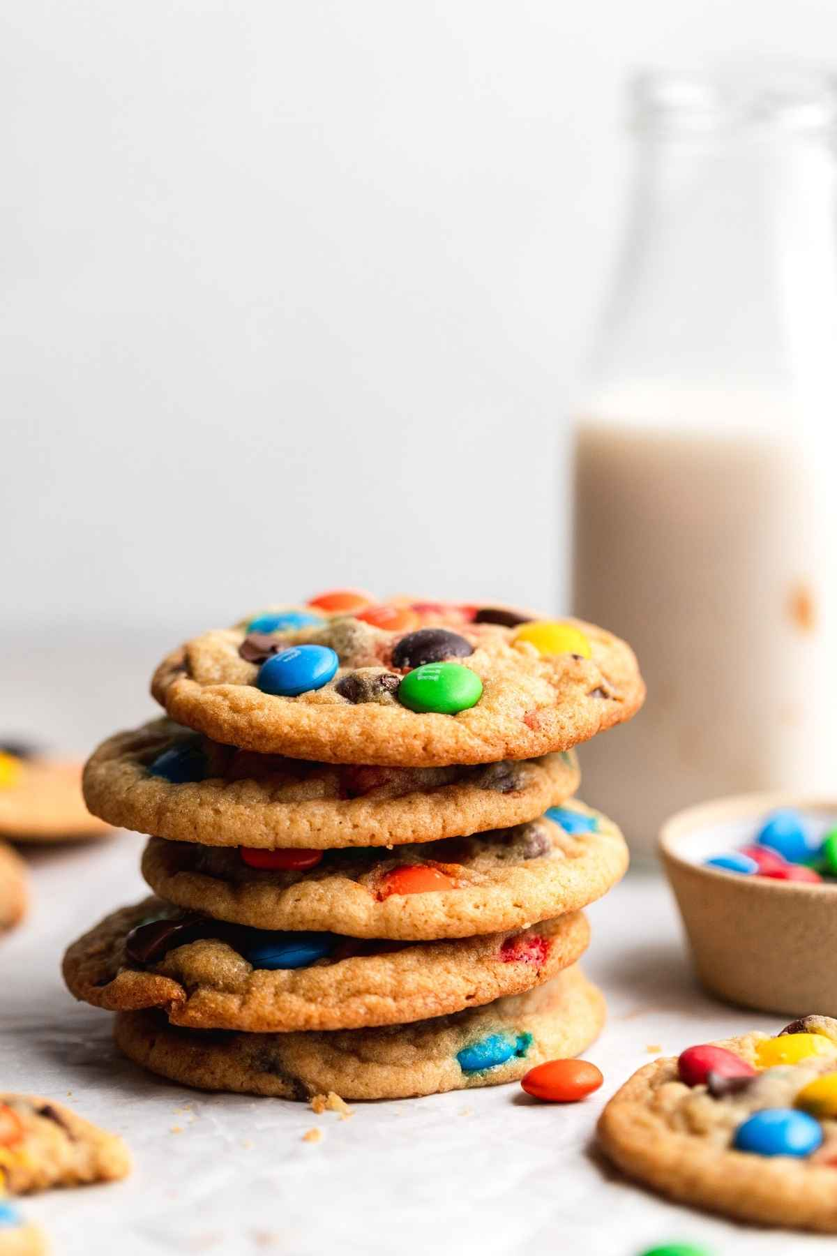 M&M Cookies in stack