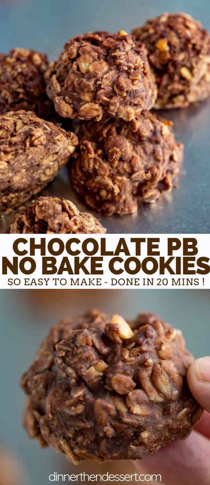 No-Bake Cookies with Peanut Butter and Chocolate