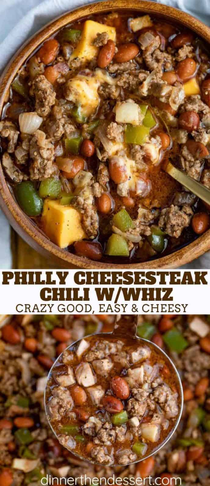 Philly Cheesesteak Ground Beef Chili