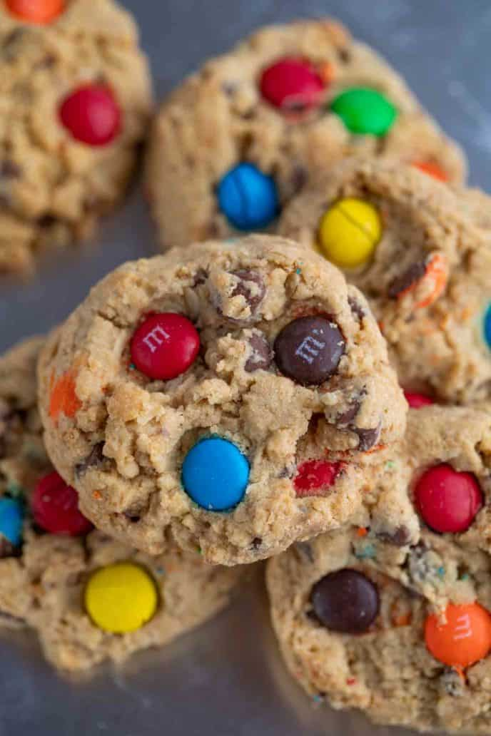 Monster Cookies with M&Ms and chocolate chips