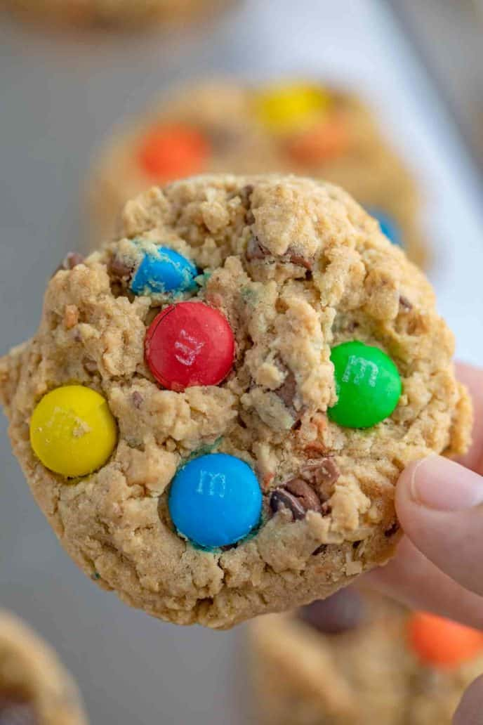 Monster Cookies with Peanut Butter, Oats, Chocolate Chips, and M&Ms