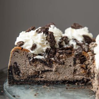 Cross-section of Oreo Cheesecake on glass plate