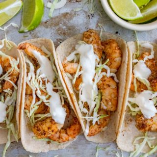 Shrimp Tacos and Lime and Sour Cream