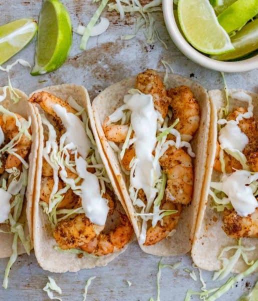 Shrimp Tacos and Lime and Sour Cream
