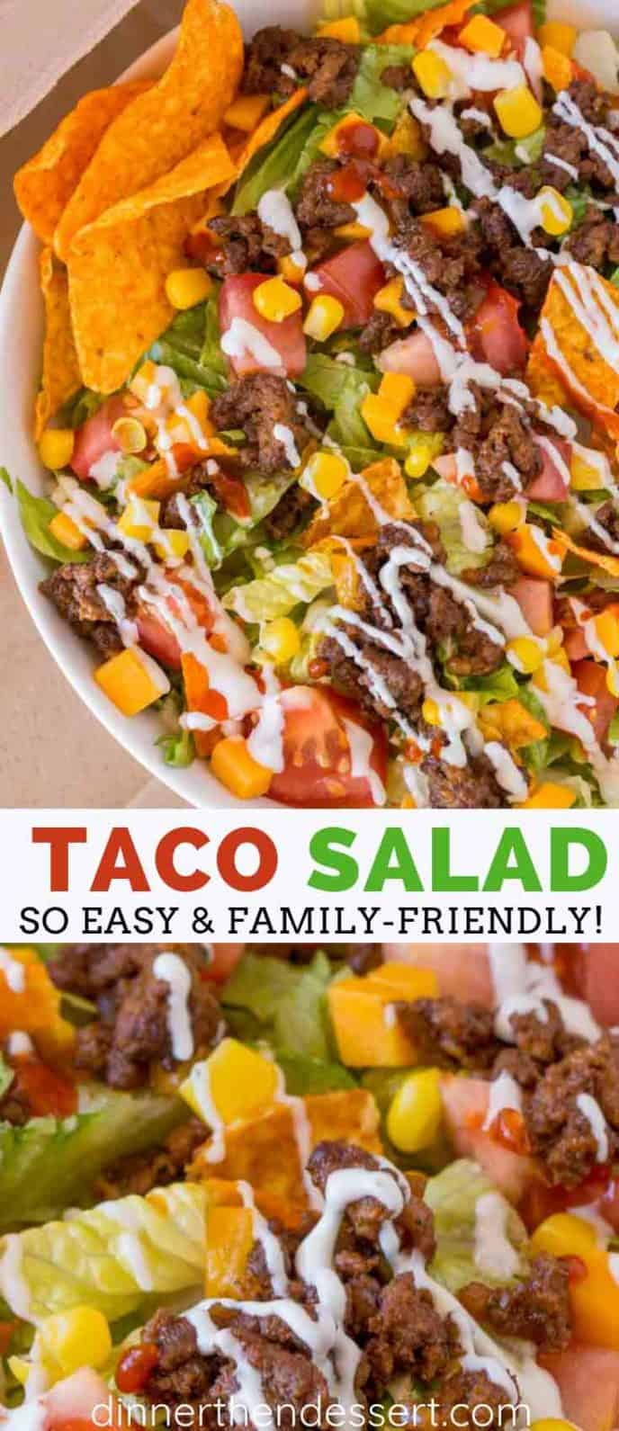 Taco Salad with ground beef, corn, tomatoes, and salsa