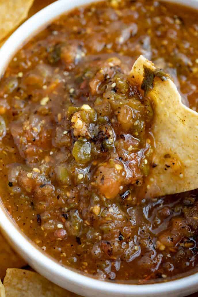 Chipotle Tomatillo Jalapeno Salsa Roasted Chip Dipping in Bowl
