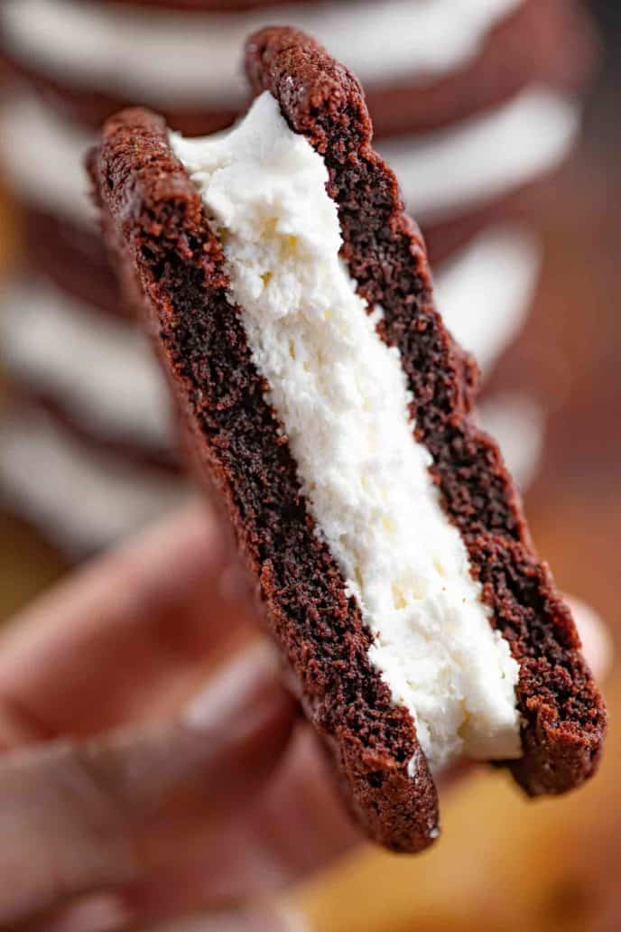 Cross section of chocolate sandwich cookie