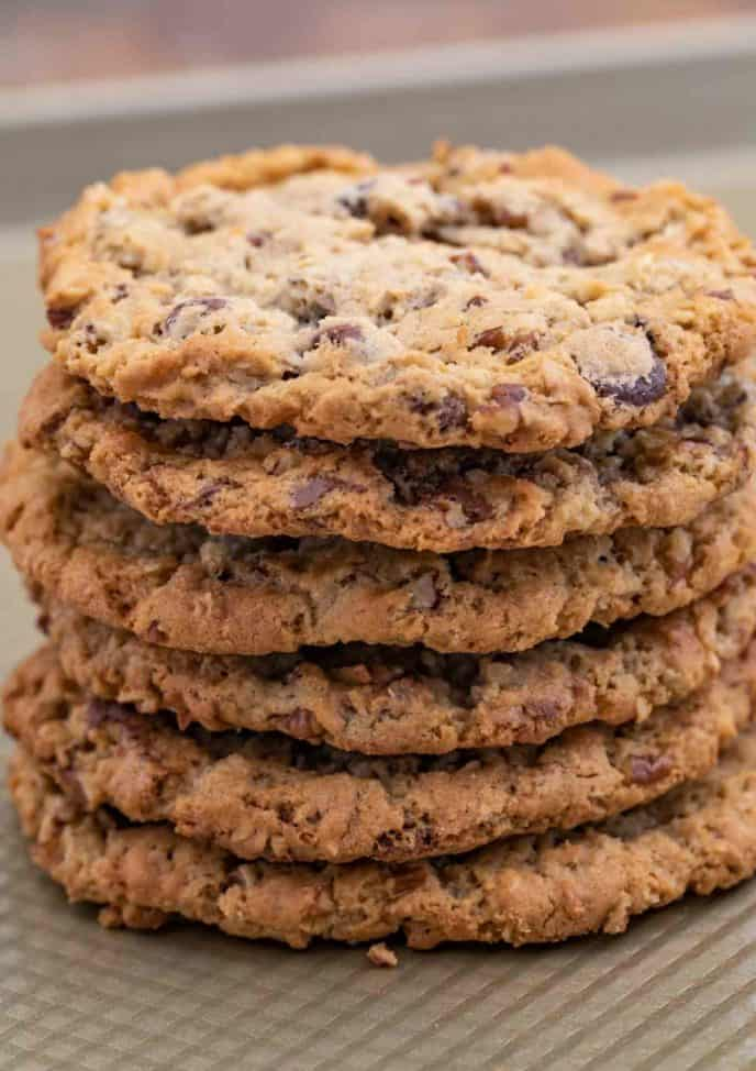 Cowboy Cookies in a stack