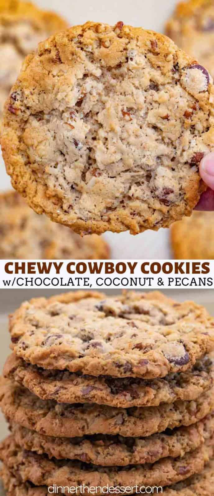 Cowboy Cookies with coconut chocolate and pecans