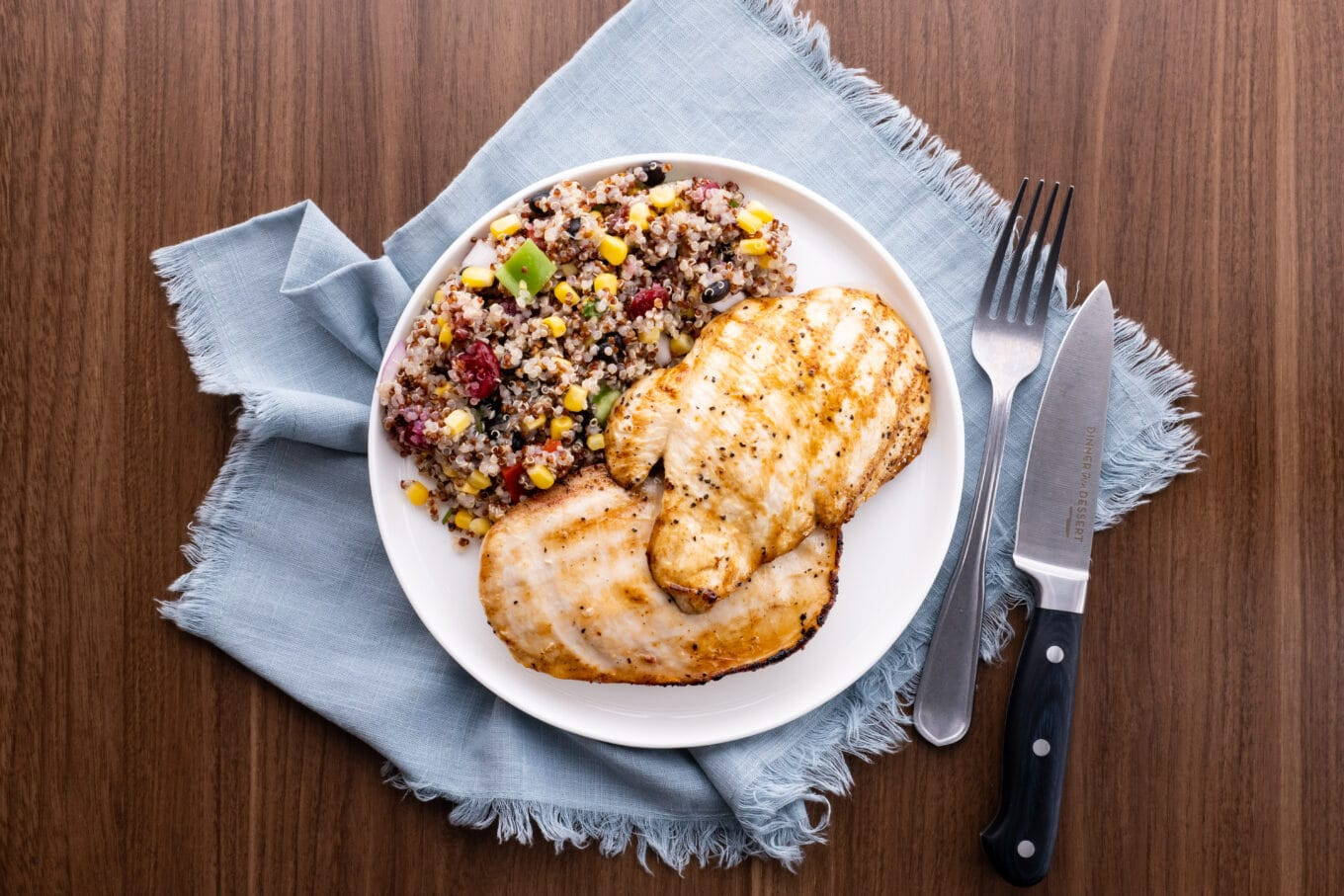 Easy Grilled Chicken on plate with quinoa salad