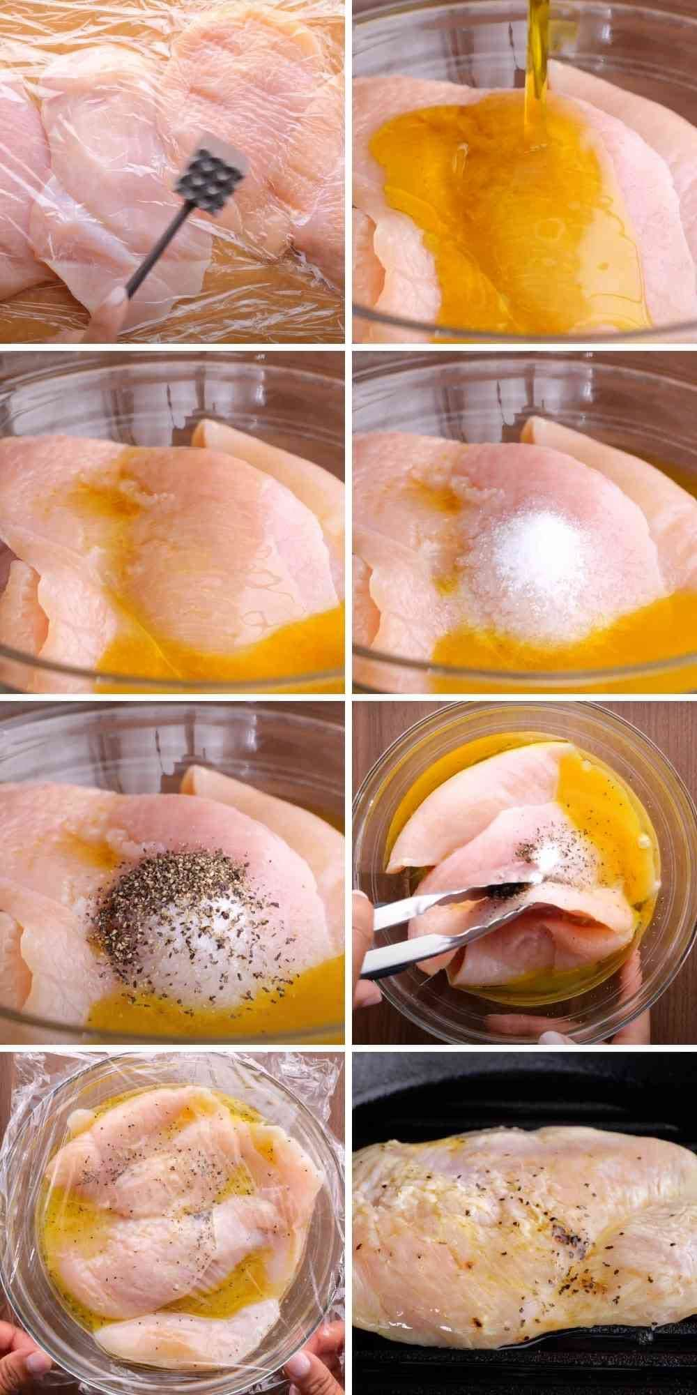 Collage of marinade steps for Grilled Chicken
