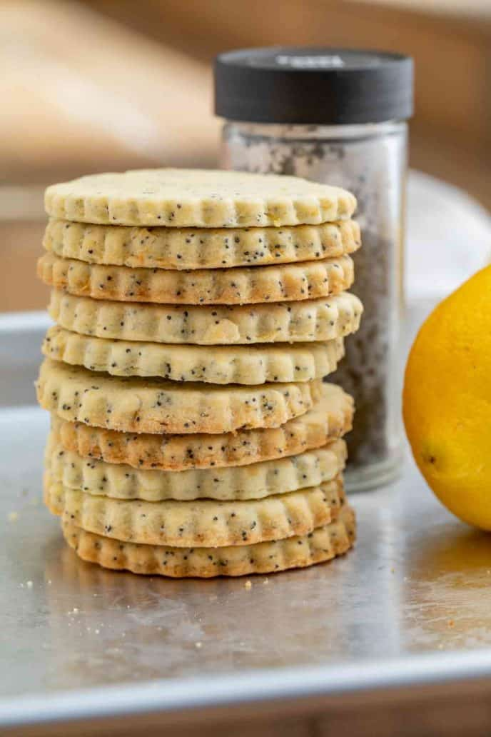 Lemon Poppy Seed Cookies in a stack