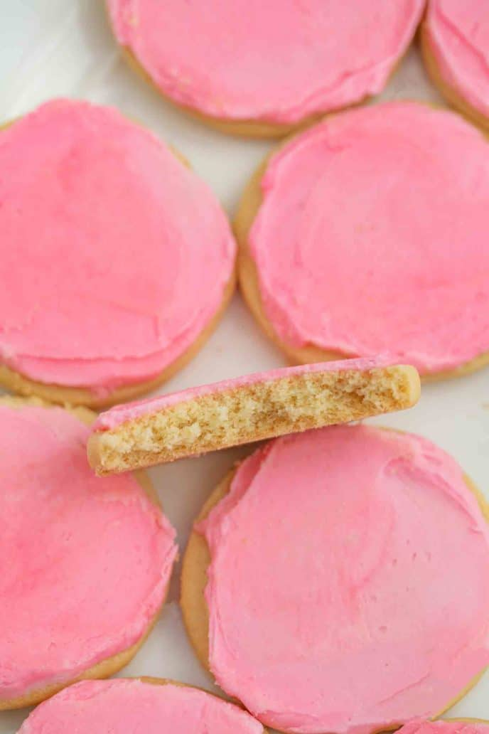 Lofthouse Sugar Cookie with Pink Frosting Cross-section