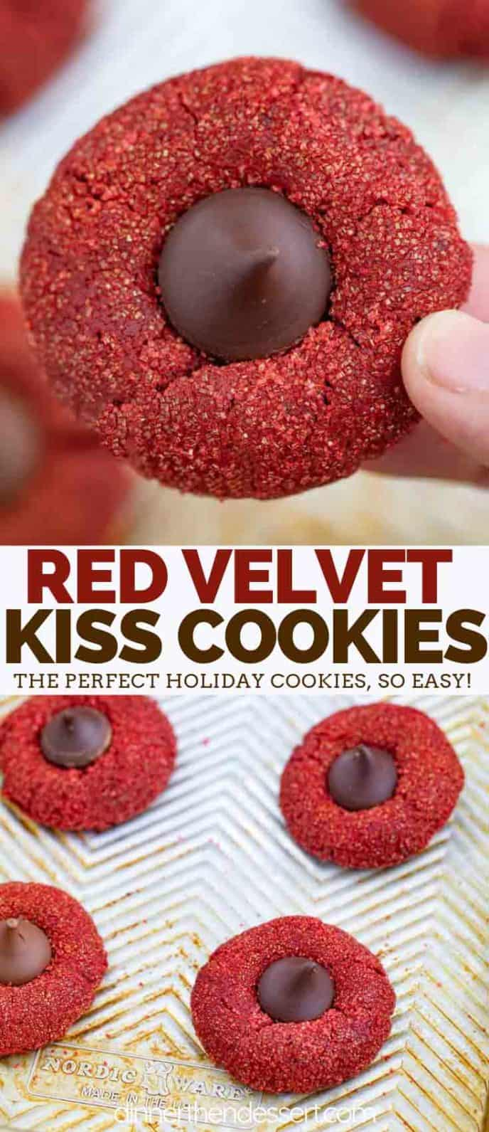 Red Velvet Hershey's Kiss Cookies Collage